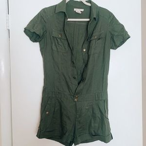 Army green jumpsuit shorts urban outfitters small